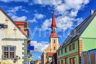 Traditional colorful buildings in Parnu, Esonia Stock Photo