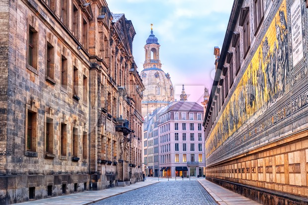 Dresden, Germany, mosaic wall and Frauenkirche cathedral in background Stock Photo