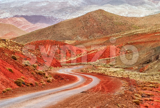 Winding road in the Sahara desert on the foot of Atlas mountains, Morocco