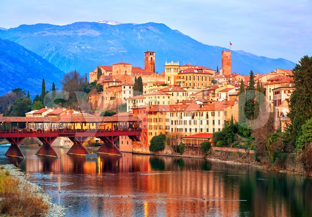 Bassano del Grappa town in the Alps mountains, Italy Stock Photo