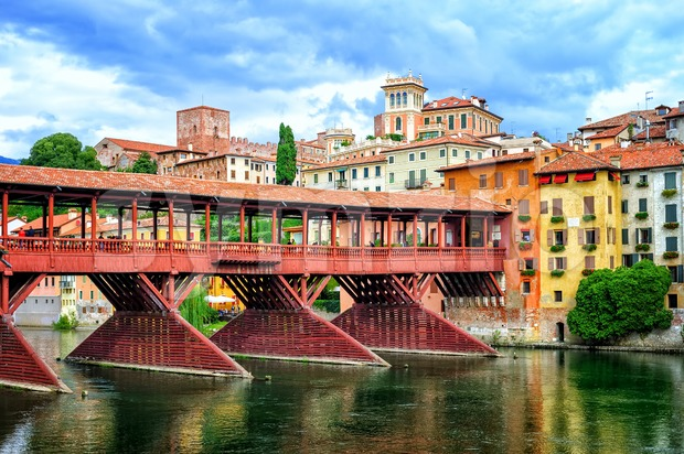 Ponte degli Alpini Bridge, Bassano del Grappa, Italy Stock Photo
