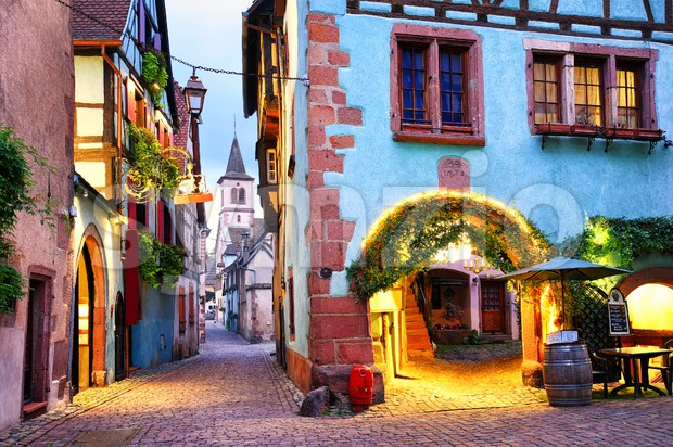Colorful town of Riquewihr, Alsace, France Stock Photo