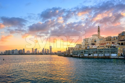 Old town of Jaffa and Tel Aviv city, Israel Stock Photo