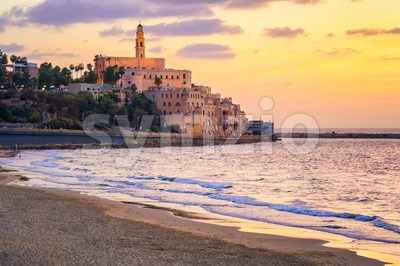 Old town of Yafo, Tel Aviv, Israel, on sunset Stock Photo