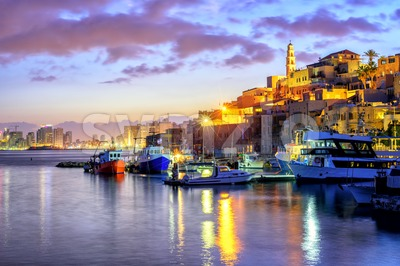 Yafo old town port on sunset, Tel Aviv, Israel Stock Photo
