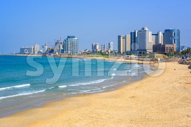 Modern skyline of Tel Aviv city, Israel Stock Photo