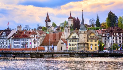 Medieval towers in the old town of Lucerne, Switzerland Stock Photo
