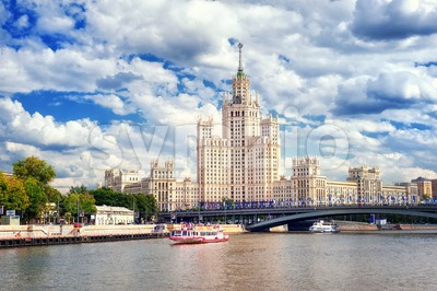 Stalinist skyscraper on Moskva river, Moscow, Russia Stock Photo