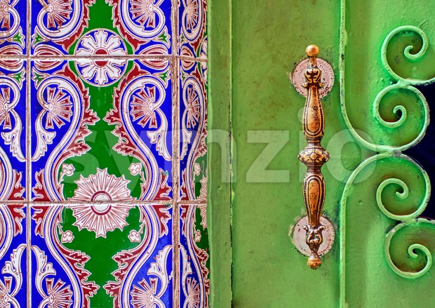 Traditional moroccan ornamented door handle Stock Photo
