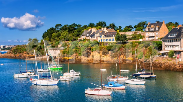 Seaside villas on a hill on atlantic coast, Brittany, France Stock Photo