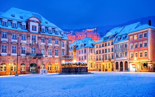 Medieval german old town Heidelberg white with snow in winter, Germany