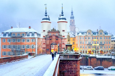 Baroque old town of Heidelberg, Germany, in winter Stock Photo