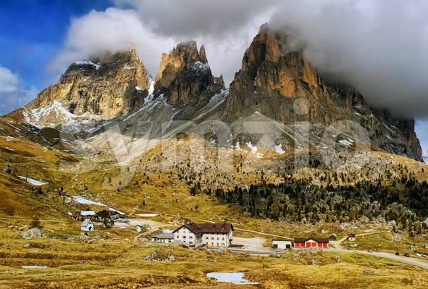 Clouds over Dolomites mountains, Alps, Italy Stock Photo