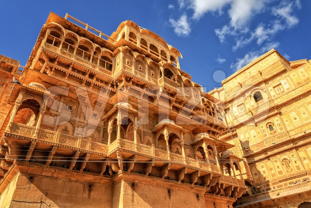 Stone carved house in Jaisalmer, Rajasthan, India Stock Photo