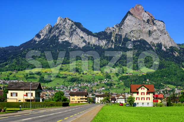 Swiss mountain landscape by Schwyz, Switzerland Stock Photo