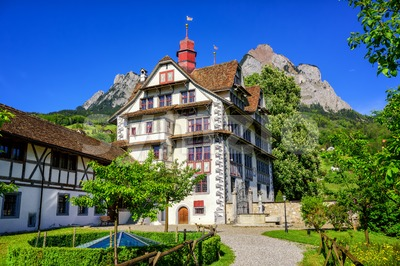 Traditional swiss house in Schwyz, Switzerland Stock Photo
