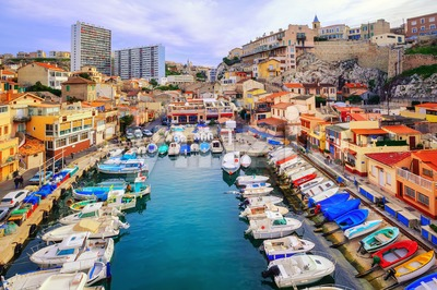 Colorful yacht harbour in the old city of Marseilles, France Stock Photo