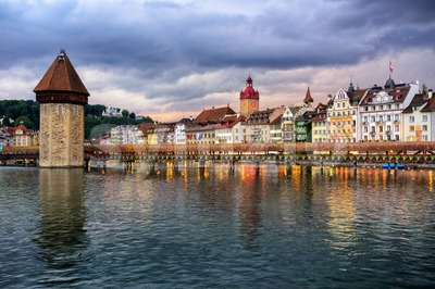 Lucerne old town on dramatic sunset, Switzerland Stock Photo