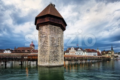 Water Tower in the old town of Lucerne, Switzerland Stock Photo