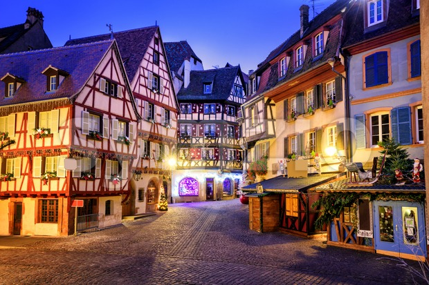 Traditional half-timbered houses in the old town of Colmar decorated for christmas, Alsace, France