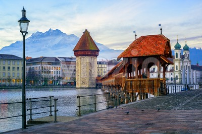 Old town of Lucerne with Mount Pilatus, Switzerland Stock Photo
