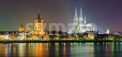 Night panoramic view of Cologne, Germany Stock Photo