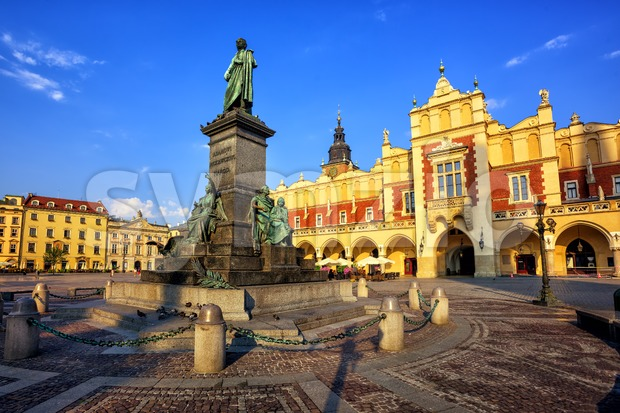 Cloth Hall and Adam Mickiewicz Monument, Krakow, Poland Stock Photo