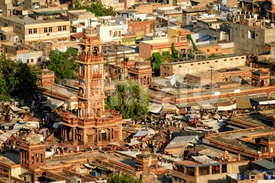 The Clock tower and Sadar market, Jodhpur, India Stock Photo