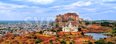 Panorama of blue city Jodhpur, India Stock Photo
