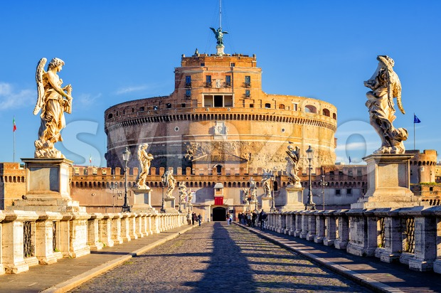Castel Sant'Angelo, Mausoleum of Hadrian, Rome, Italy Stock Photo