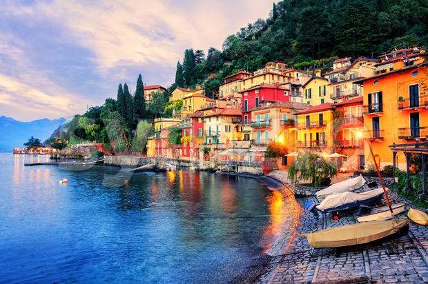Town of Menaggio on sunset, Lake Como, Milan, Italy Stock Photo