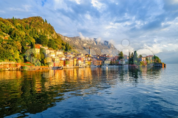Resort town Varenna on Lake Como in italian Alps mountains on swiss border, Lombardy, Italy