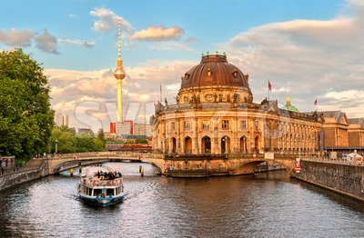 Museum island on Spree river and Alexanderplatz TV tower in center of Berlin, Germany Stock Photo