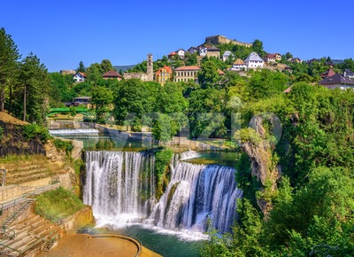 Jajce town and Pliva Waterfall, Bosnia and Herzegovina Stock Photo