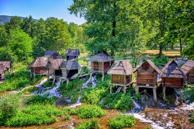 Jajce watermills, Bosnia and Herzegovina Stock Photo