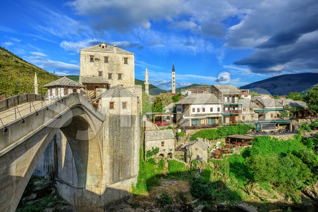 Old town and bridge in Mostar, Bosnia and Herzegovina Stock Photo
