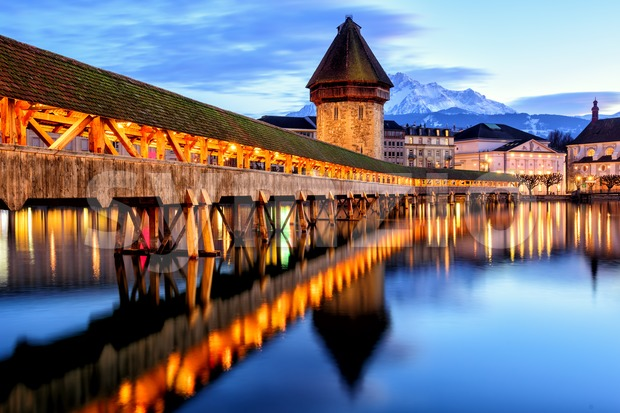 Chapel Bridge in the Old Town of Lucerne, Switzerland, Stock Photo