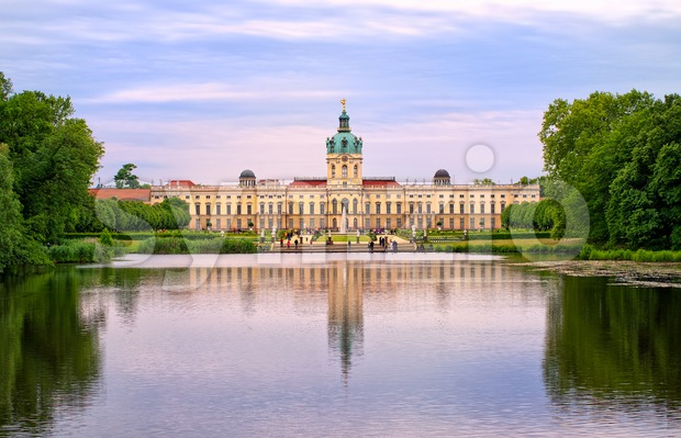 Charlottenburg royal palace in Berlin, Germany, view from lake to English garden Stock Photo