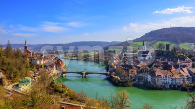 Laufenburg town on Germany - Switzerland border, Rhine Stock Photo