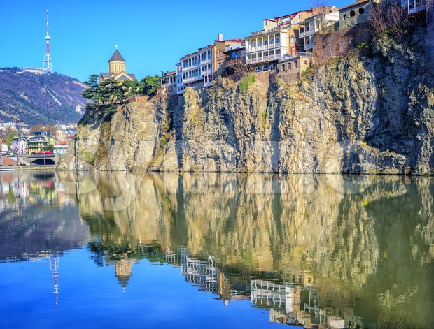 Old Town Tbilisi, Metekhi Rock and River, Georgia Stock Photo