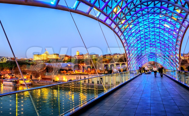Peace Bridge and President Palace in Tbilisi, Georgia Stock Photo