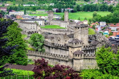 Bellinzona city center with two castles, Switzerland Stock Photo
