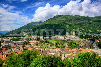 Bellinzona Old Town, swiss Alps, Switzerland Stock Photo