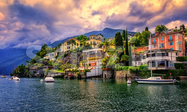 Dramatic sunset over Ascona, Switzerland Stock Photo