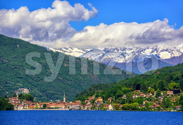 Mergozzo town, Lago Maggiore and Alps, Italy Stock Photo