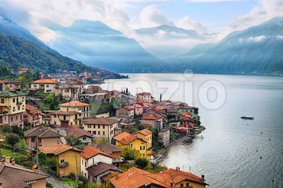 View of Como Lake, Milan, Italy, with Alps mountains in background Stock Photo
