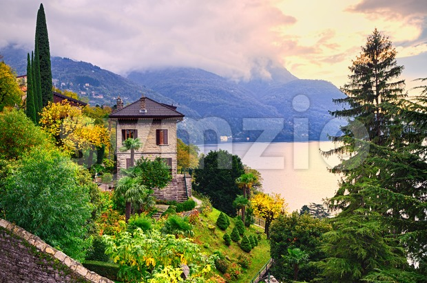 Luxury villa and garden on Como Lake by Milan, Italy Stock Photo
