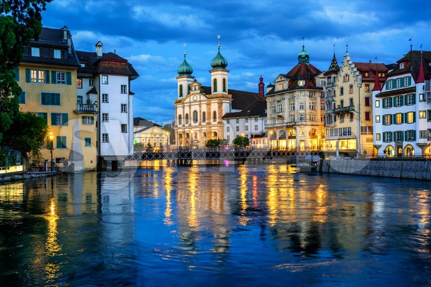 Historical Old Town of Lucerne, Switzerland, at night Stock Photo
