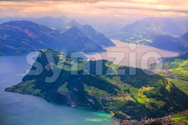 Burgenstock mountain on Lake Lucerne, Swiss Alps, on dramatic sunset