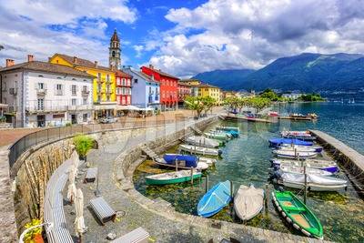 Ascona old town, Lago Maggiore, Switzerland Stock Photo